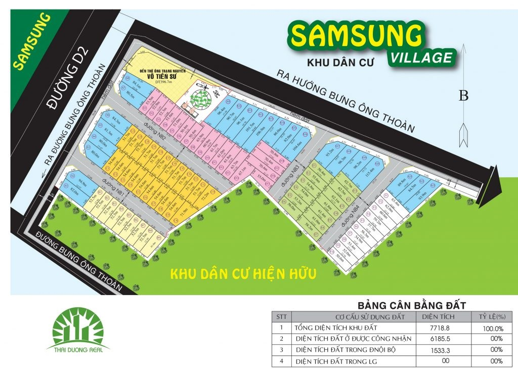 Bản đồ phân lô dự án Samsung Village 1